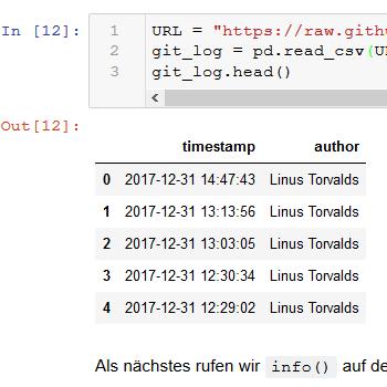 Mini-Tutorial: Git-Log-Analyse mit Python und Pandas (German)